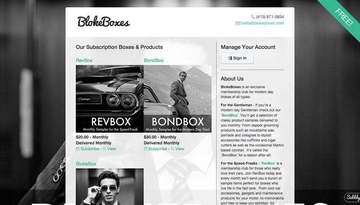 Original Theme - Subscription Box Website Template